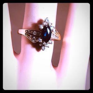 Marquise Sapphire Diamond 14k Gold Ring. 6